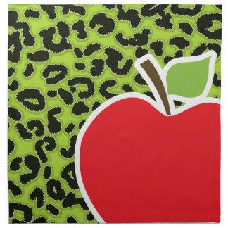 Apple en estampado de animales verde cítrico del l servilletas imprimidas