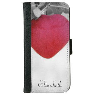 Apple en forma de corazón rojo dramático funda cartera para iPhone 6