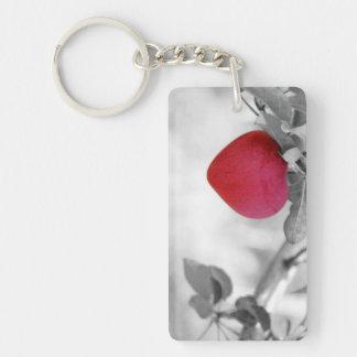 Apple en forma de corazón rojo dramático llavero rectangular acrílico a doble cara