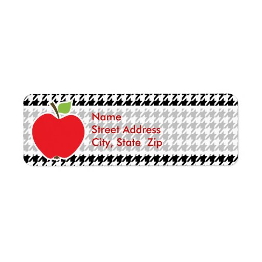 Apple en Houndstooth negro y blanco Etiquetas De Remite