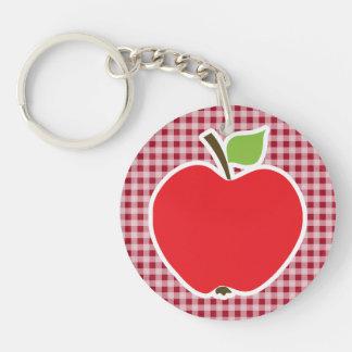 Apple en la guinga del rojo del carmín llavero redondo acrílico a doble cara