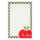 Apple en lunares oscuros del verde de musgo  papeleria de diseño