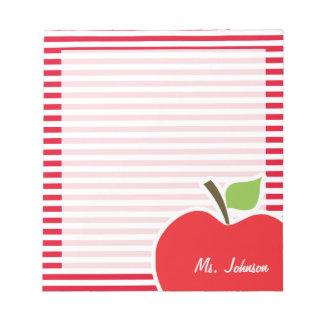 Apple en rayas del rojo del cadmio; Rayado Bloc De Papel