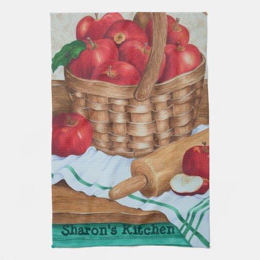 Apple en una cesta - toalla de cocina
