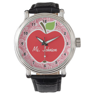 Apple encendido se ruboriza Paisley rosada Relojes De Pulsera