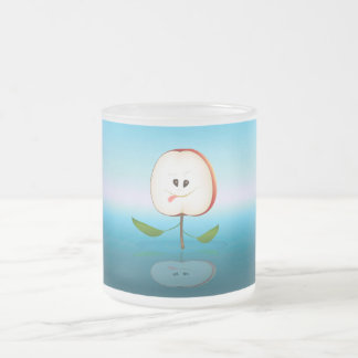 Apple Face Frosted Glass Coffee Mug