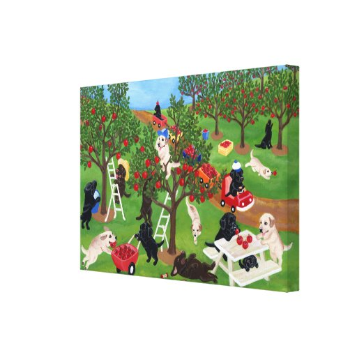 Apple Farm Labradors Painting Canvas Print