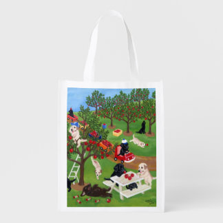 Apple Farm Labradors Painting Grocery Bag