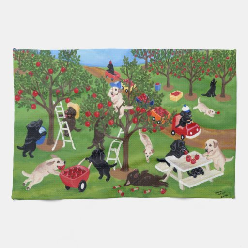 Apple Farm Labradors Painting Towel