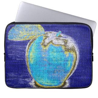 Apple Fine Art on Burlap Linen Jute #3 Computer Sleeve