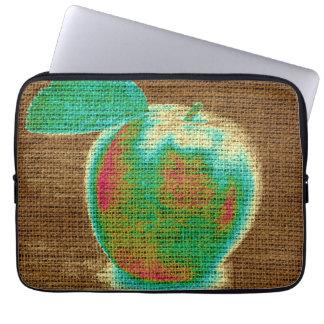Apple Fine Art on Burlap Linen Jute #4 Computer Sleeve