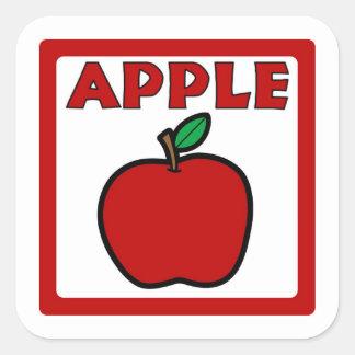 Apple flavor square sticker labels