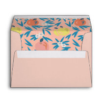 Apple Floral Coral Pink Navy Wedding Envelope