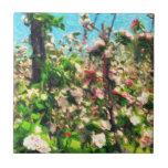 Apple florece pintura al óleo azulejos ceramicos