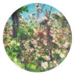 Apple florece pintura al óleo platos para fiestas
