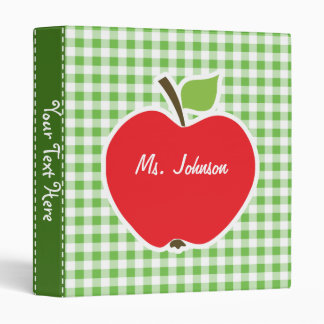 Apple for Teacher; Green Checkered; Gingham Binder