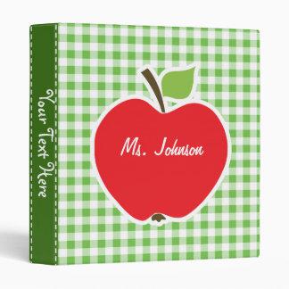 Apple for Teacher; Green Checkered; Gingham Binder