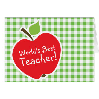 Apple for Teacher; Green Checkered; Gingham Greeting Cards
