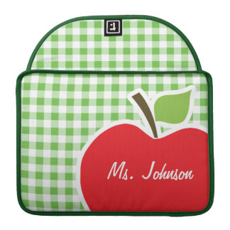 Apple for Teacher; Green Checkered; Gingham MacBook Pro Sleeve