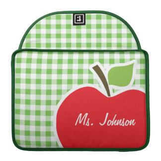 Apple for Teacher; Green Checkered; Gingham Sleeve For MacBooks