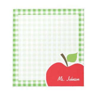 Apple for Teacher; Green Checkered; Gingham Note Pad