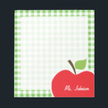 "Apple for Teacher; Green Checkered; Gingham Notepad<br><div class=""desc"">You will love this cute, red apple, teacher themed Green Checkered; Gingham pattern design! This red apple design is a great gift for the world&#39;s best teacher or professor! Visit our store, Monogram Baby, to view this cool, trendy pattern on many more customizable products, including modern teacher baby shower invitation...</div>"
