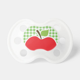 Apple for Teacher; Green Checkered; Gingham Baby Pacifier