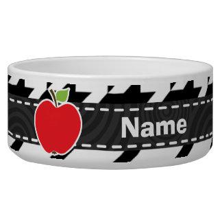 Apple for Teacher on Black & White Houndstooth Bowl