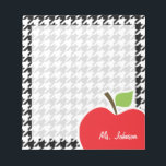 "Apple for Teacher on Black &amp; White Houndstooth Notepad<br><div class=""desc"">You will love this cute, red apple, teacher themed Black &amp; White Houndstooth pattern design! This red apple design is a great gift for the world&#39;s best teacher or professor! Visit our store, Monogram Baby, to view this cool, trendy pattern on many more customizable products, including modern teacher baby shower...</div>"
