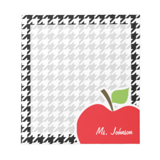 Apple for Teacher on Black & White Houndstooth Notepad