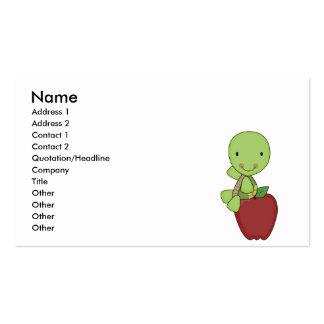 apple for teacher turtle business card