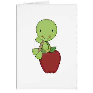 apple for teacher turtle greeting card