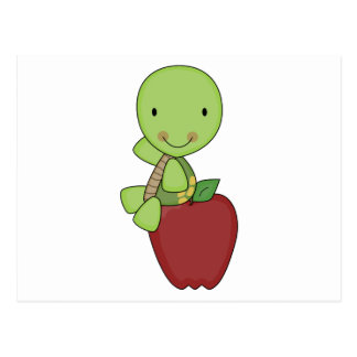 apple for teacher turtle postcard