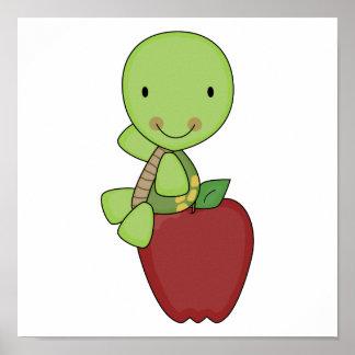 apple for teacher turtle poster