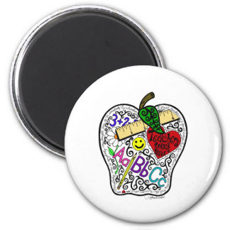 Apple for the teacher 2 inch round magnet