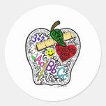 Apple for the teacher round sticker