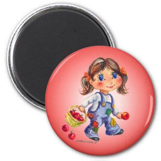 APPLE GIRL by SHARON SHARPE 2 Inch Round Magnet