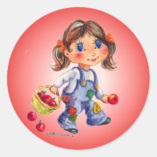APPLE GIRL by SHARON SHARPE Classic Round Sticker