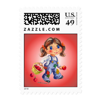APPLE GIRL by SHARON SHARPE Postage Stamps