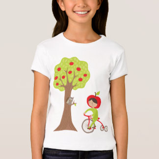 Apple Girl on a Bike with an Owl by an Apple Tree T-Shirt