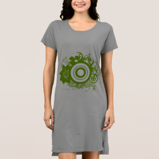 Apple Green Abstract Floral Swirl Design Dress