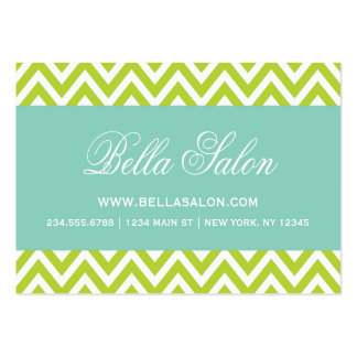 Apple Green and Aqua Modern Chevron Stripes Business Cards