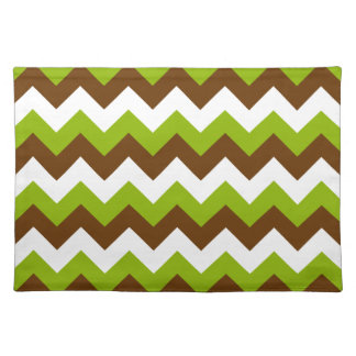 Apple Green and Brown Chevron Cloth Placemat