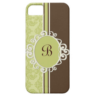 Apple Green and Brown Damask Monogram iPhone SE/5/5s Case
