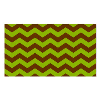 Apple Green and Brown Zigzag Business Card