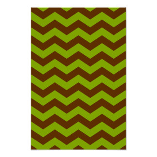 Apple Green and Brown Zigzag Poster