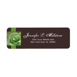 Apple Green and Chocolate Rose Return Address Label