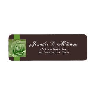 Apple Green and Chocolate Rose Return Address Label