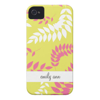 Apple Green and Hot Pink Ferns Pattern iPhone 4 Case-Mate Cases