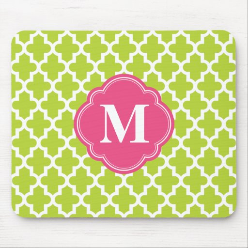 Apple Green and Pink Moroccan Custom Monogram Mousepads